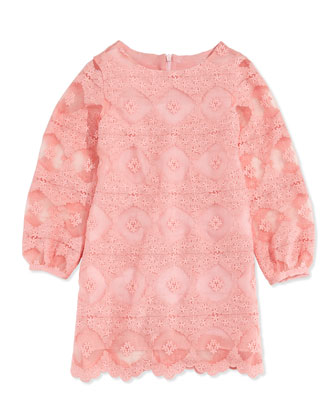 Long-Sleeve Lace Dress, Pink, Sizes 10-12