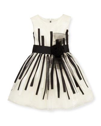 Black & White Beauty Organza Dress, White/Black, Sizes 8-10