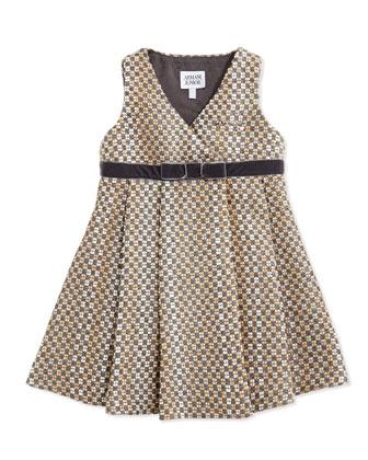 Tweed V-Neck Dress, Brown, Size 2-8