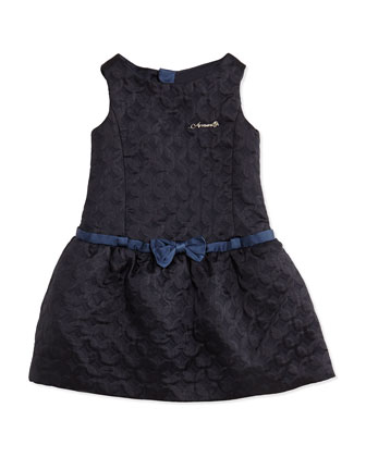 Quilted Belted Sateen Dress, Navy, Sizes 2-8
