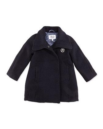 Girls' Tweed Dress Coat, Navy, Sizes 2-8