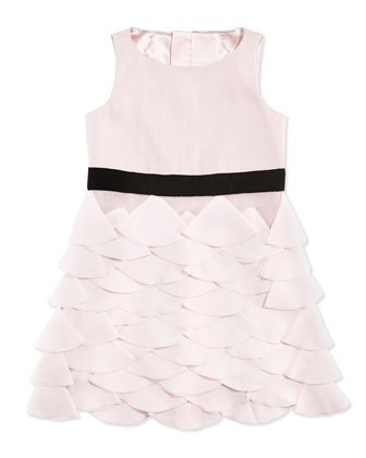 Tiered Petal-Appliqu?? Party Dress, Blush, Sizes 8-14