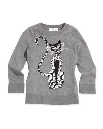 Cheetah-Print Knit Sweater, Charcoal, Sizes 2-7