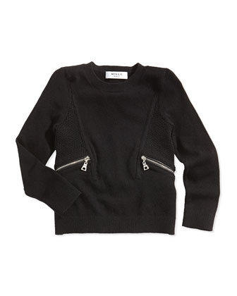 Zipper-Detail Pullover Sweater, Black, Sizes 2-7