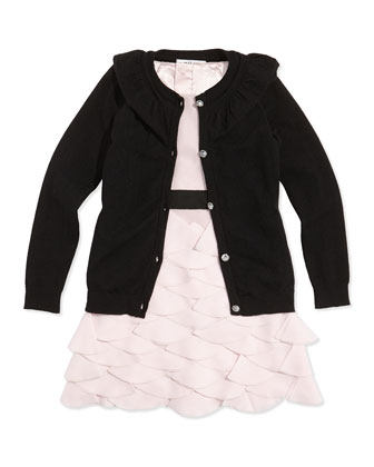 July Ruffle Rhinestone-Button Cardigan, Black, Sizes 2-7