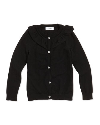 July Ruffle Rhinestone-Button Cardigan, Black, Sizes 8-14