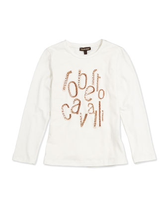 Leopard-Print Jersey Logo Tee, White, Sizes 11-14