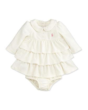 Tiered Velour Dress, Antique Cream, 3-24 Months
