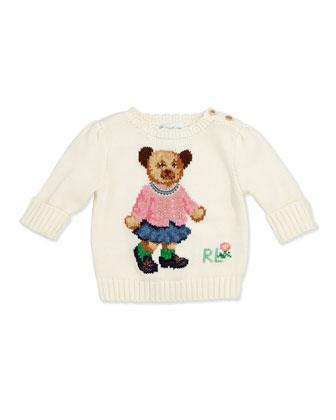Girls' Intarsia-Knit Bear Sweater, 3-12 Months
