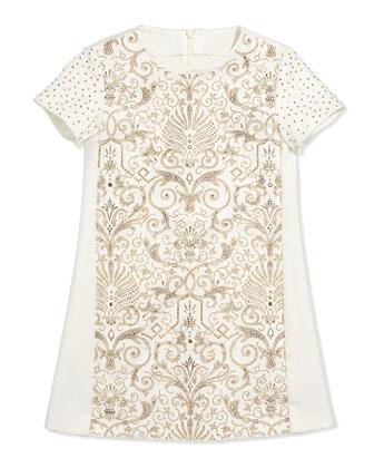 Ponte Embellished Shift Dress, Sizes 7-10