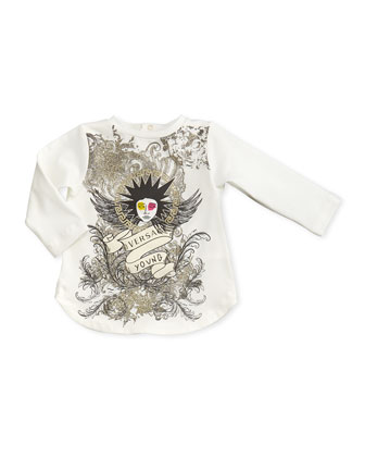 Punk-Medusa Graphic Tunic, White, 12-24 Months