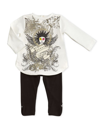 Punk-Medusa Graphic Tunic, White, 3-9 Months
