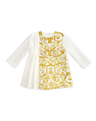 Pleated Dress with Baroque-Print, 3-9 Months