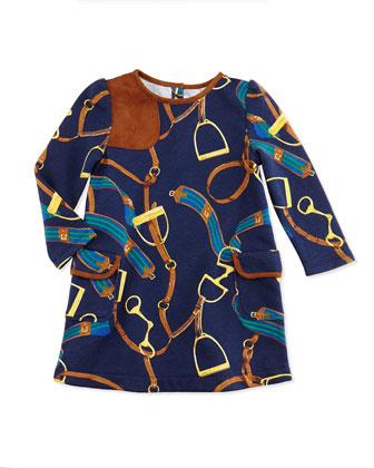 Equestrian-Print Jersey Dress, 9-24 Months