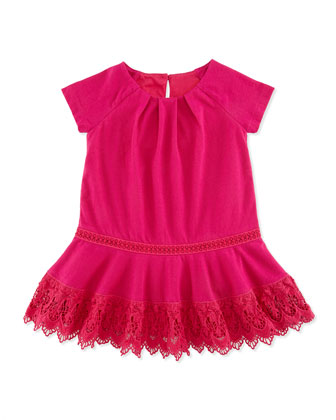 Jersey Dress with Lace Trim, Currant, 9-24 Months