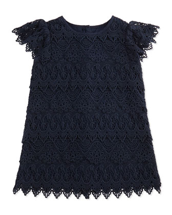 Tiered Lace Shift Dress, Aviator Navy, 9-24 Months