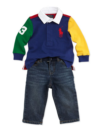 Long-Sleeve Rugby Jersey & Jeans Set, Green Multi, 9-24 Months