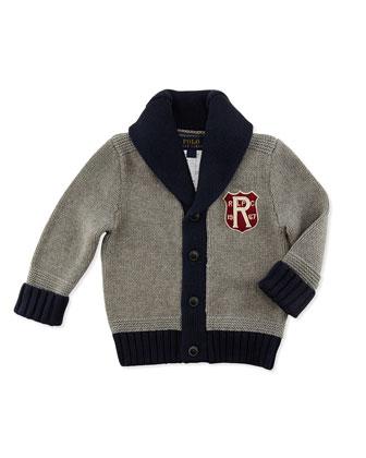 Shawl-Collar Knit Cardigan, Fawn Heather, 9-24 Months