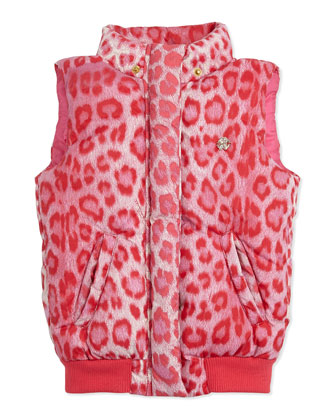 Hooded Leopard-Print Puffer Vest, Red, Sizes 7-10
