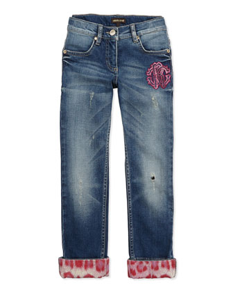 Leopard-Print Trimmed Distressed Jeans, Blue, Sizes 7-10