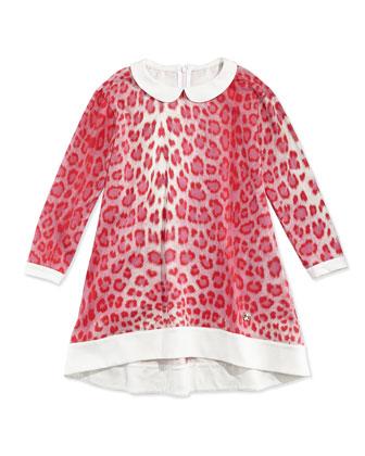 Stretch-Knit Leopard-Print Shift Dress, Red/White, Sizes 2-6