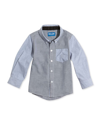 Houndstooth Chambray Shirt, Black, Sizes 2T-7Y