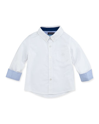 Oxford Shirt with Contrast Cuffs, 2T-7Y