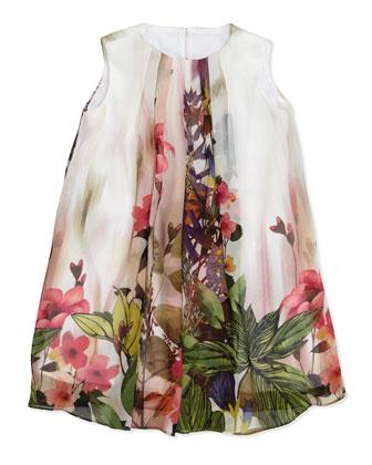 Floral-Print Chiffon Shift Dress, Sizes 7-12