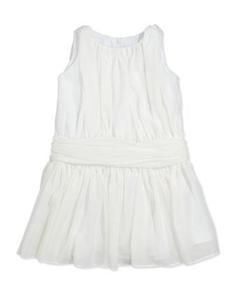Ruched Chiffon Dress, Ivory, Sizes 2T-4T