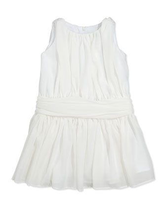 Ruched Chiffon Dress, Ivory, Sizes 7-14