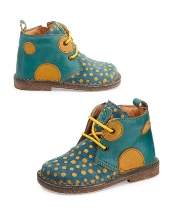 Polka-Dot-Print Eco Leather & Suede Boots, Toddler, Yellow/Blue