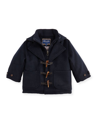 Fleece Duffle Coat, Navy, 2T-7Y