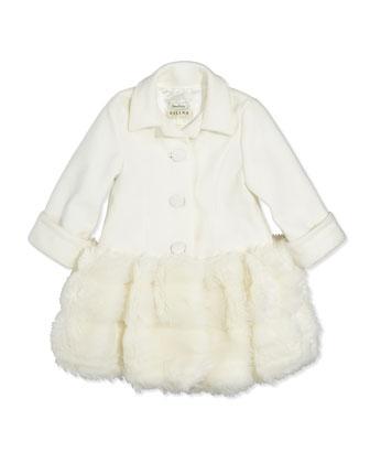 Fleece and Faux-Fur Coat, Ivory, 4-6X