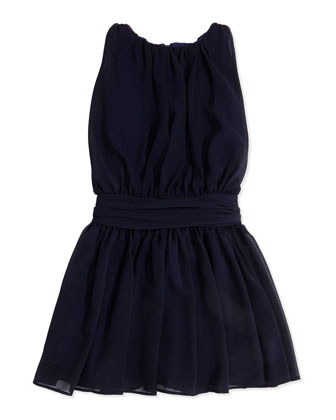 Ruched Chiffon Dress, Navy, Sizes 4-6X