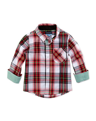 Christmas Plaid Button-Down Shirt, Red, 2T-7Y