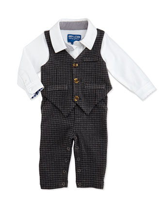 One-Piece Houndstooth Vest & Pants Set, 3-12 Months