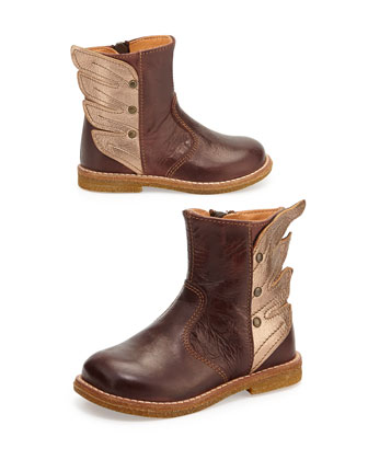 Winged Leather Boots, Toddler, Brown
