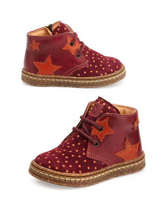 Star-Print Eco Leather & Suede Boots, Youth, Red/Orange