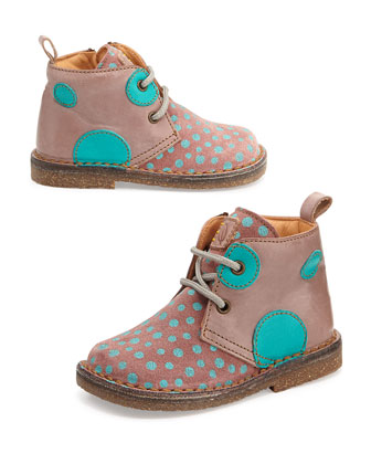 Polka-Dot-Print Eco Leather & Suede Boots, Youth, Pink/Blue