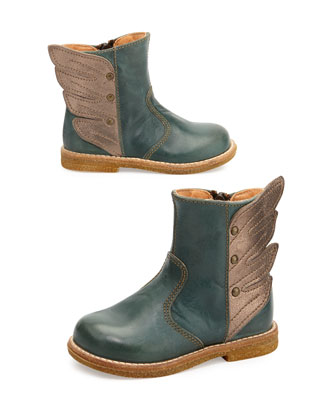 Winged Leather Boots, Youth, Blue