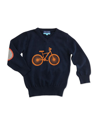 Bicycle V-Neck Sweater, Navy, 2T-7Y