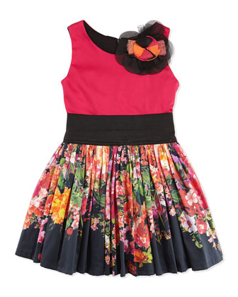 Colorblock Floral-Print Fit-And-Flare Dress, Sizes 8-12