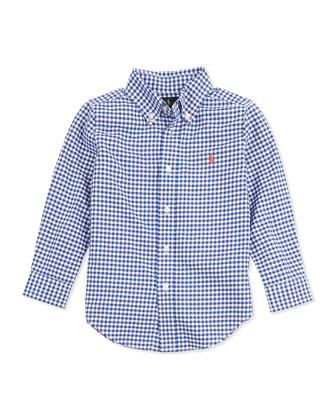 Blake Gingham Oxford Shirt, Royal, Sizes 4-7