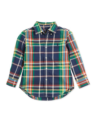 Blake Plaid Twill Shirt, Navy Multi, Sizes 4-7