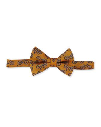Bicycle-Print Bow Tie, Orange