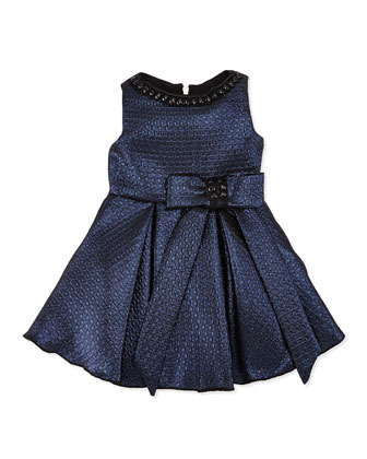 Old World Glam Jacquard Party Dress, Navy, Sizes 2-6X
