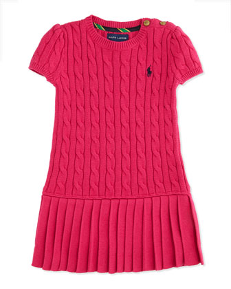Cable-Knit Short-Sleeve Sweater Dress, Currant, 2T-3T