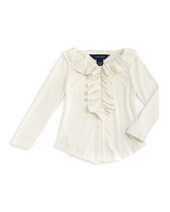Ruffled Knit Blouse, Essex Cream, 2T-3T