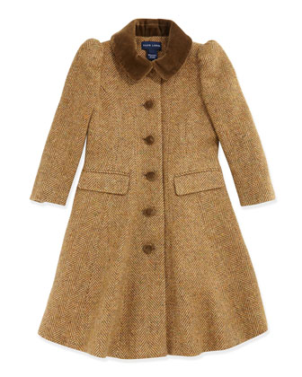 Herringbone Tweed Princess Coat, Tan, Sizes 4-6X