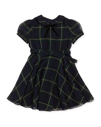 Tartan-Plaid Chiffon Dress, Navy/Hunter Green, Sizes 4-6X